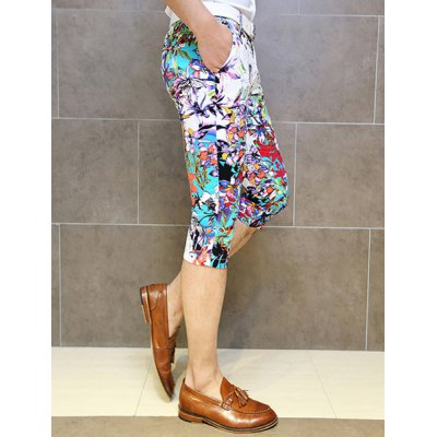 Гаджет   Slimming Trendy Flowers and Plants Print Straight Leg Cotton Capri Pants For Men Pants