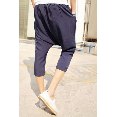 Fashion Style Elastic Waist Slimming Personality Button Embellished Solid Color Narrow Feet Men's Parachute Cropped Pants