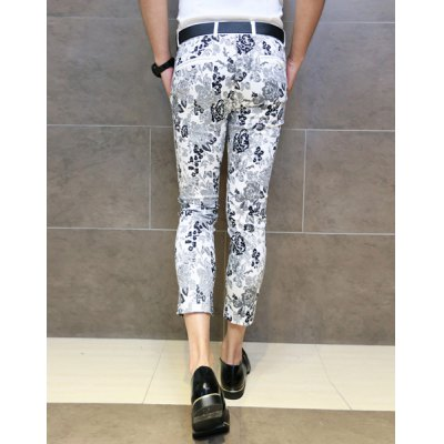 Гаджет   Slimming Trendy Hit Color Retro Flower Print Button Design Straight Leg Cotton Nine Minutes of Pants For Men Pants