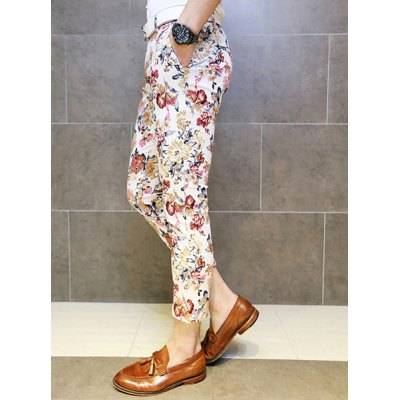 Гаджет   Slimming Trendy Hit Color Flowers Print Straight Leg Cotton Nine Minutes of Pants For Men