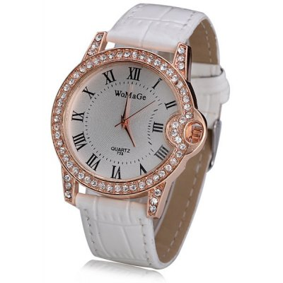 Women Watch Analog with Shiny Diamonds Design Round Dial Leather Watch Band