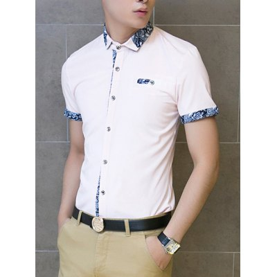 Гаджет   Fashion Style Turn-down Collar Single Breasted Purfled Short Sleeves Cotton Shirt For Men Shirts