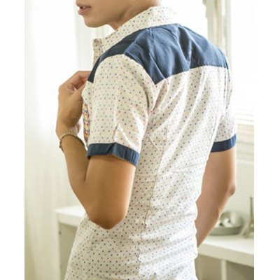 Гаджет   Fashion Style Turn-down Collar Polka Dot Print Splicing Short Sleeves Cotton Shirt For Men Shirts