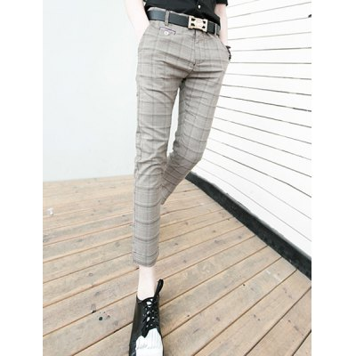 Гаджет   Korean Style Zipper Fly Checked Print Button Embellished Solid Color Slimming Narrow Feet Men