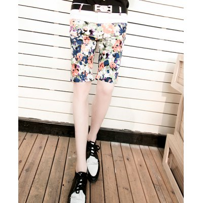 Гаджет   Slimming Trendy Hit Color Splicing Zipper Fly Personality Flower Print Straight Leg Men