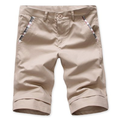 Гаджет   Fashion Style Slimming Solid Color Straight Leg Polyester Cropped Pants For Men Pants