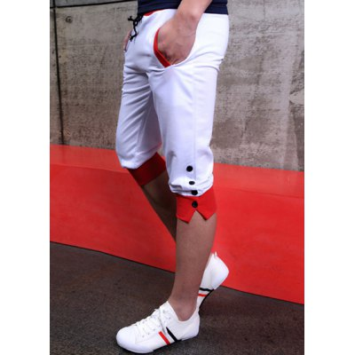 Loose-Fitting Lace-Up Character Single Breasted Design Color Block Splicing Narrow Feet Men's Cotton Cropped Pants