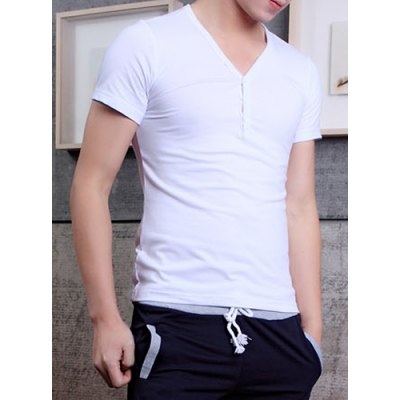 Гаджет   Fashion Style V-Neck Solid Color Character Buttons Embellished Short Sleeves Men