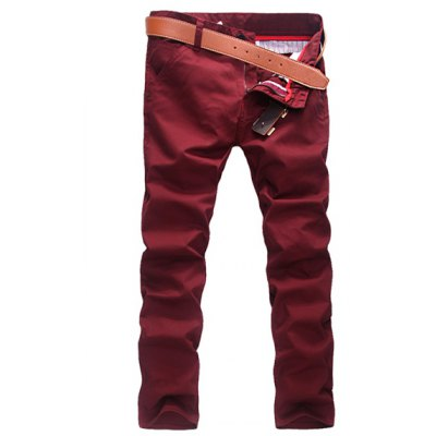 Гаджет   Casual Style Zipper Fly Solid Color Slimming Curling Edge Straight Leg Men