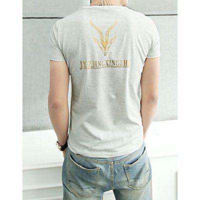 Summer Style Round Neck Goat Print Short Sleeves Cotton T-Shirt For Men