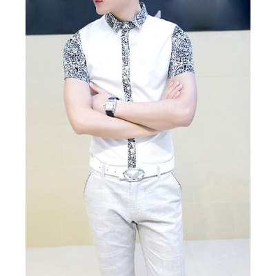 Гаджет   Stylish Shirt Collar Slimming Hit Color Floral Splicing Short Sleeve Men
