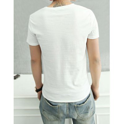 Summer Style Round Neck Striped Print Anchor Print Short Sleeves Cotton T-Shirt For Men