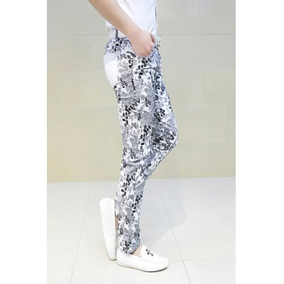 Гаджет   Slimming Trendy Hit Color Floral Print Pocket Design Straight Leg Polyester Pants For Men Pants