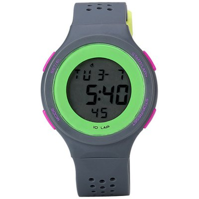 Superb LED Watch with Digital Display Day / Date Round Dial and Rubber Band