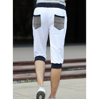 Casual Style Lace-Up Design Embroidery Embellished Cuffs Splicing Straight Leg Men's Cotton Blend Shorts