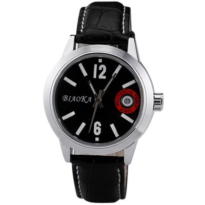ФОТО Superb Men Automatic Mechanical Watch with Analog Round Dial Genuine Leather Watchband IP Plating