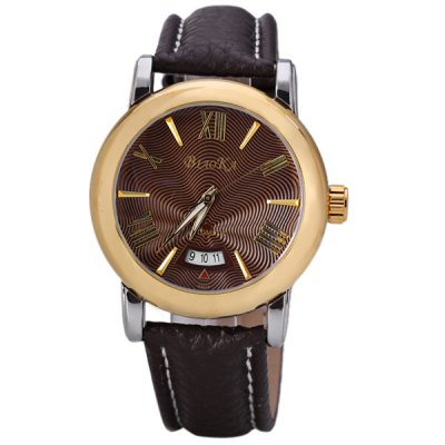 ФОТО Fashion Men Automatic Mechanical Watch with Analog Round Dial Genuine Leather Watchband IP Plating