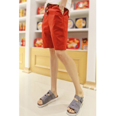 Гаджет   Loose Fit Trendy Lace-Up Ethnic Flanging Design Straight Leg Linen Shorts For Men Shorts