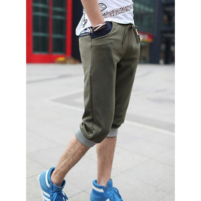Fashion Style Lace-Up Design Camo Splicing Curling Edge Slimming Narrow Feet Men's Cotton Blend Cropped Pants