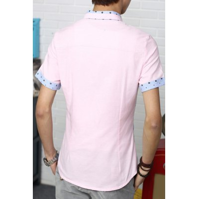 Гаджет   Korean Style Hit Color Turn-down Collar Slimming Cuffs Splicing Short Sleeves Men
