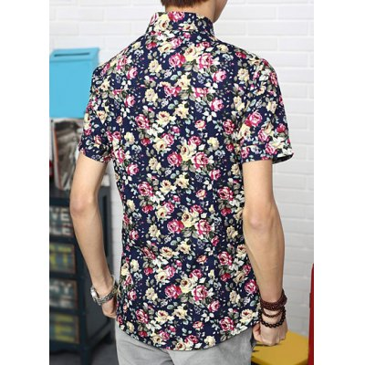 Гаджет   Korean Style Lapel Floral Print Slimming Simple Design Short Sleeves Men
