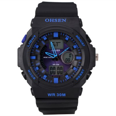 Cool Sport LED Watch with Double Movt Analog Day / Date Round Dial and Rubber Band