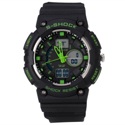 Popular Sport LED Watch with Double Movt Analog Day / Date Round Dial and Rubber Band