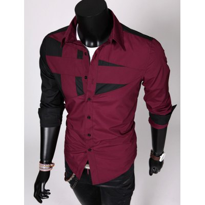 Stylish Shirt Collar Slimming Hit Color Irregular Splicing Long Sleeve Mens Polyester ShirtMens Shirts<br>Stylish Shirt Collar Slimming Hit Color Irregular Splicing Long Sleeve Mens Polyester Shirt<br><br>Shirts Type: Casual Shirts<br>Material: Polyester<br>Sleeve Length: Full<br>Collar: Turn-down Collar<br>Weight: 0.302KG<br>Package Contents: 1 x Shirt