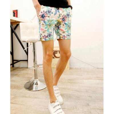 Stylish Zipper Fly Personality Floral Print Slimming Cuffs Crimping Straight Leg Men's Polyester Shorts