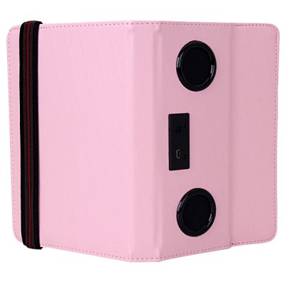 PU Leather Case with Micro Fiber 2 Speakers Stand Function for 7.0 inch Tablet