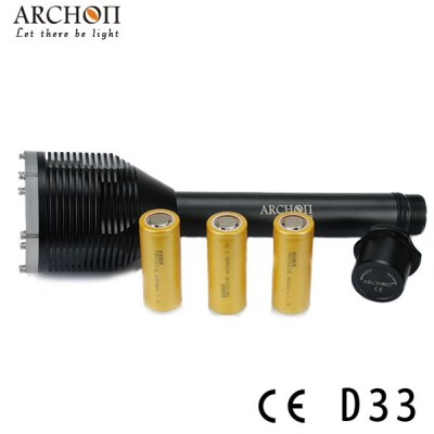 Archon D33 Diving Torch 3 x Cree XM - L T6 Mode 3000lm Highlight LED White Underwater 100m Flashlight (3 26650 Battery)