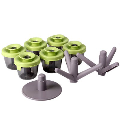 Creative 6PCS Seasoning Container Green with HolderHome Gadgets<br>Creative 6PCS Seasoning Container Green with Holder<br><br>Type: Seasoning Container<br>For: Kitchen<br>Material: Plastic<br>How to Use: Assembly with holder<br>Color: Green<br>Product weight   : 0.06 kg / 1PCS<br>Package weight   : 0.7 kg<br>Product size (L x W x H)   : 8.5 x 8.5 x 8 cm (3.35 x 3.35 x 3.15 inches) / 1PCS<br>Package size (L x W x H)  : 25 x 22 x 10 cm<br>Package Contents: 6 x Seasoning Container, 1 x Holder