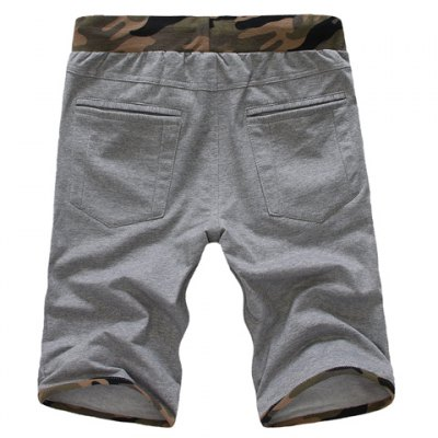 Slimming Trendy Lace-Up Hit Color Camo Splicing Straight Leg Cotton Shorts For Men