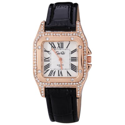 Fashion Women Watch Analog with Shiny Diamonds Design Square Dial Leather Watch Band
