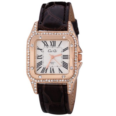 Fashion Women Watch Analog with Shiny Diamonds Design Square Dial Leather Watch BandWomens Watches<br>Fashion Women Watch Analog with Shiny Diamonds Design Square Dial Leather Watch Band<br><br>Watches categories: Female table<br>Available color: Black, White, Pink, Brown<br>Style : Diamond<br>Movement type: Quartz watch<br>Shape of the dial: Square<br>Surface material: Crystal mirror<br>Display type: Pointer<br>The bottom of the table: Ordinary<br>Watch-head: Ordinary<br>Case material: Stainless steel<br>Case color: Gold<br>Band material: Leather<br>Clasp type: Pin buckle<br>Band color: Brown<br>Special features: Three needles<br>The dial thickness: 0.8 cm / 0.3 inch<br>The dial diameter: 3.2 cm / 1.3 inch<br>The band width: 1.8 cm / 0.7 inch<br>Product weight: 0.036 kg<br>Product size (L x W x H) : 23.5 x 3.2 x 0.8 cm / 9.3 x 1.3 x 0.3 inches<br>Package contents: 1 x Watch