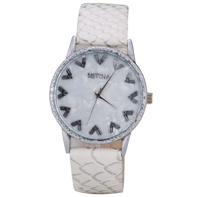 Гаджет   Women Watch Analog with Elegant Design Round Dial Leather Watch Band Women