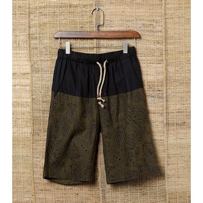 Loose Mid-Waisted Floral Print Drawstring Linen Men's Shorts