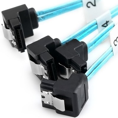 Гаджет   1M SAS Mini 36Pin SFF - 8087 to 4x 7Pin SATA Right Angled Receptacle Breakout Cable Cables & Connectors