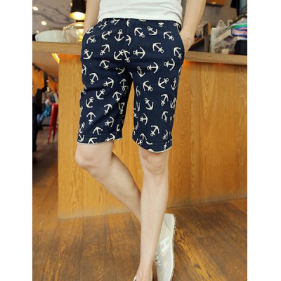 Slimming Anchor Print Straight Solid Color Men's Shorts