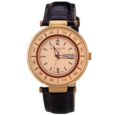 Гаджет   Julius Stylish Men Watch Analog with Date / Day Round Dial Genuine Leather Watch Band Men