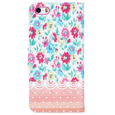 ФОТО Colorful Drawing Flowers Pattern TPU and PU Stand Case with Card Holder for iPhone 5 5S