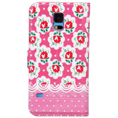 Гаджет   Colorful Drawing Rose Pattern TPU and PU Stand Case with Card Holder for Samsung Galaxy S5 i9600 SM - G900 Samsung Cases/Covers