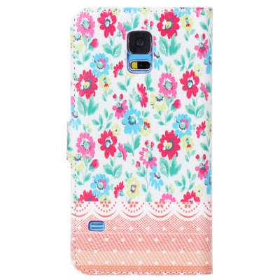 ФОТО Colorful Drawing Flowers Pattern TPU and PU Stand Case with Card Holder for Samsung Galaxy S5 i9600 SM - G900
