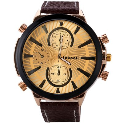 Гаджет   Stylish Men Wrist Watch Analog Display with Big Round Dial Leather Watch Band Men