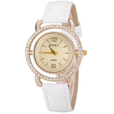Fashion Leather Band Women Quartz Watch with Diamonds Round DialWomens Watches<br>Fashion Leather Band Women Quartz Watch with Diamonds Round Dial<br><br>Watches categories: Female table<br>Available color: Black, White, Pink<br>Style : Diamond<br>Movement type: Quartz watch<br>Shape of the dial: Round<br>Display type: Pointer<br>Case material: Steel<br>Case color: Gold<br>Band material: Leather<br>Clasp type: Pin buckle<br>Band color: White<br>Special features: 12 hours of instruction<br>The dial thickness: 0.8 cm / 0.3 inch<br>The dial diameter: 2.8 cm / 1.1 inch<br>The band width: 1.7 cm / 0.7 inch<br>Product weight: 0.033 kg<br>Product size (L x W x H) : 23.8 x 4.1 x 0.8 cm / 9.4 x 1.6 x 0.3 inches<br>Package contents: 1 x Watch