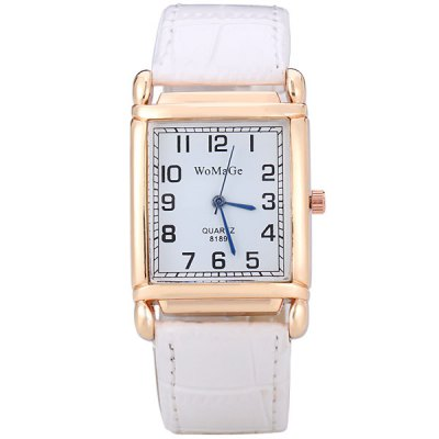 Fashion Women Watch Analog with Rectangle Dial Leather Watch Band