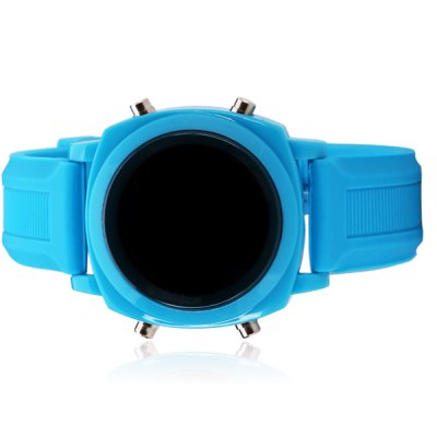 Superb LED Sports Watch with Digital Display Date Round Dial and Silicone Band