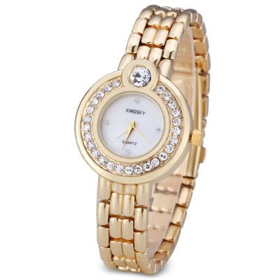 Fashion Women Wrist Watch Analog Display with Diamonds Shell Surface Style Round Dial Steel Watch Band