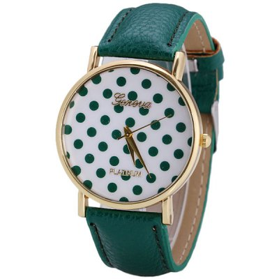 Geneva Women Watch Analog with Elegant Dots Design Round Dial Leather Watch Band