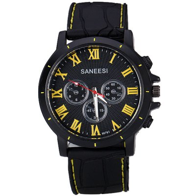 Popular Men Wrist Watch Analog with Round Dial Silicone Watch Band